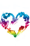Colorful heart ink. Underwater isolated stock image