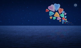Colorful heart love balloon float on fantasy sky and moon Royalty Free Stock Photo