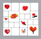 Colorful heart or love vector icons set. Royalty Free Stock Photography