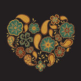 Colorful heart with mehendi flowers and leafs on dark background. Colorful heart shape with mehendi flowers and leafs on dark background. Vector Illustration Stock Photos