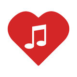 Colorful Heart with musical note Royalty Free Stock Image
