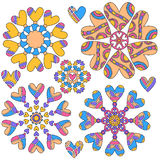Colorful heart ornament collection Stock Photos