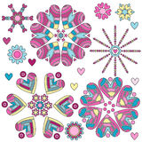 Colorful heart ornament collection Stock Image