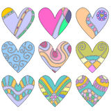 Colorful heart ornaments Royalty Free Stock Image