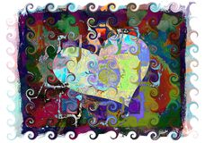 Colorful Heart Painting with Swirls Stock Photos