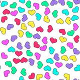 Colorful heart seamless pattern on white background. Paper print design. Abstract retro vector illustration. Trendy textile, royalty free stock photos