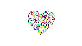 Colorful heart shape animation last 5s loop 4k (4096x2304). Colorful heart shape. the last 5 seconds are loopable. 4k (4096x2304 stock video footage