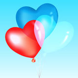 Colorful Heart Shape Balloons. Vector. Colorful Heart Shape Balloons, Blue, Red And White, Over Sky Stock Images