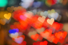 Colorful heart shape bokeh background. Floating colorful heart shape bokeh background Royalty Free Stock Photos