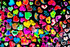 Colorful heart shape isolated on black background Stock Images