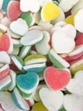 Colorful Heart shape Jelly Candy bonbon snack group. sweet for valentines day background. pastel color red blue green yellow pink. Colorful Heart shape Jelly Royalty Free Stock Photos