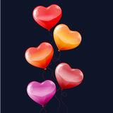 Colorful heart shaped balloons Stock Photography