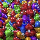 Colorful heart shaped christmas balls Royalty Free Stock Photos