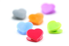 Colorful Heart shaped clips Royalty Free Stock Photo