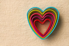 Colorful heart shaped on fleece Royalty Free Stock Image