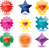 Colorful heart shaped glass buttons. (JPG); a  version is also available Stock Images
