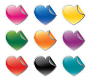 Colorful heart shaped stickers set stock illustration