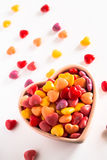 Colorful Heart Shaped Valentines Day Candy. Colorful heart shaped Valentines Day love candy in ceramic bowl stock photos