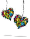 Colorful heart sketch. Stain glass style Stock Image