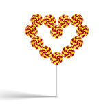 Colorful heart swirly lollypop Royalty Free Stock Photo
