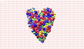 Colorful heart ove, valentin`s. Colorful heart symbol over a background of writing royalty free stock photography