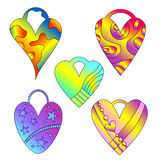 Colorful heart tag collection Royalty Free Stock Image