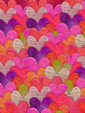 Colorful heart texture background. Digital collage style heart background in pink hues Royalty Free Stock Photography