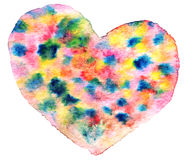 Colorful heart in watercolor Royalty Free Stock Image