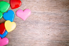 Colorful heart on the wooden for valentine background, vintage c. Olor tone stock images