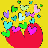 Colorful heart on yellow background Royalty Free Stock Photo