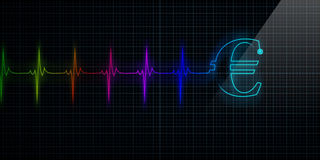 Colorful Heartbeat Monitor with Euro Stock Images