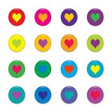 Colorful hearts. Shiny buttons with hearts, isolated on white. Colors: red, pink, purple, yellow, orange, green, blue Royalty Free Stock Images