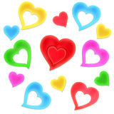 Colorful hearts. Set of Valentine's color hearts Stock Photography