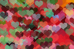 Colorful hearts abstract illustration Stock Photography