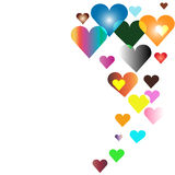 Colorful hearts ascending. Cheerful multicolor hearts ascending like a balloons Stock Photography