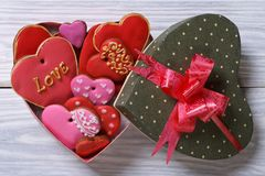 Colorful hearts biscuits in festive box top view Stock Photos