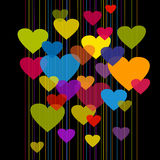 Colorful hearts on black bg Stock Photography