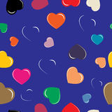 Colorful hearts on blue background. Pattern vector illustration