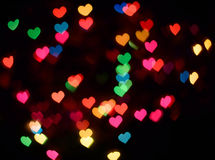 Colorful hearts bokeh Stock Photo