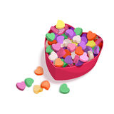 Colorful Hearts Candy for Valentines Day for posters, cards or leaflet. Royalty Free Stock Photo