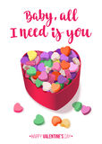 Colorful Hearts Candy for Valentines Day with Romantic saying for posters, cards or leaflet. Royalty Free Stock Photo