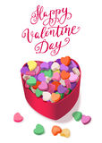 Colorful Hearts Candy for Valentines Day with Romantic saying for posters, cards or leaflet. Stock Photos