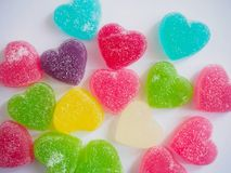 Colorful hearts candy on white for valentines background Royalty Free Stock Images