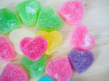 Colorful hearts candy on wood for valentines. Background royalty free stock photos