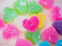 Colorful hearts candy on wood for valentines background. Colorful hearts candy on wood for valentines day background royalty free stock photography