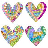 Colorful hearts with different doodle style pattern. Isolated over white background Royalty Free Stock Images