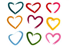 Colorful hearts Stock Image