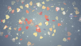 Colorful hearts falling Stock Photo