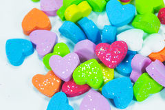 Colorful hearts foam Stock Images