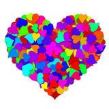Colorful Hearts Forming Big Valentines Day Heart. Shape Design Illustration Stock Image